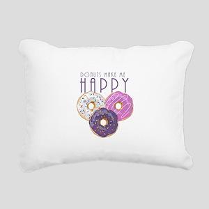 Donuts Make Me Happy Rectangular Canvas Pillow