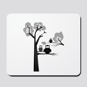 Black & White Owls Mousepad
