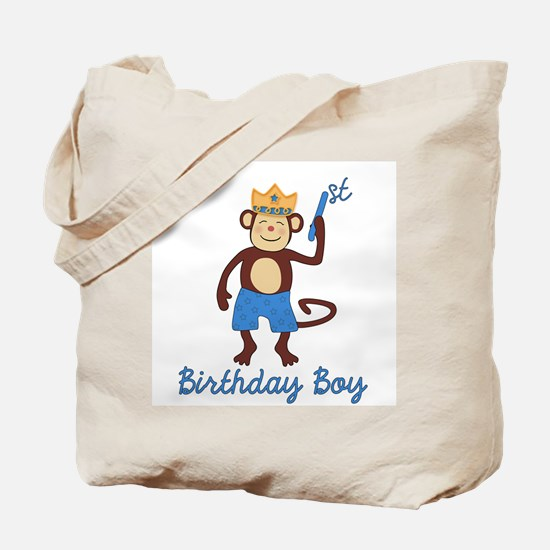 1st Birthday Monkey Boy Tote Bag