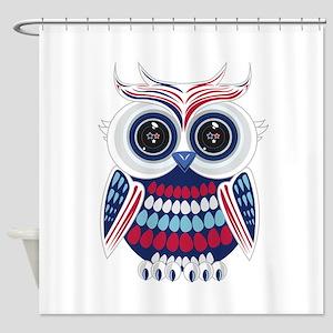 Patriotic Owl Shower Curtain