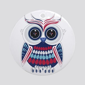 Patriotic Owl Round Ornament