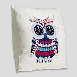 Patriotic Owl Burlap Throw Pillow