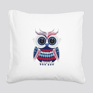 Patriotic Owl Square Canvas Pillow