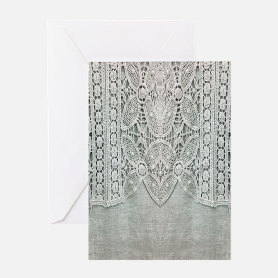 grey linen bohemian lace Greeting Cards