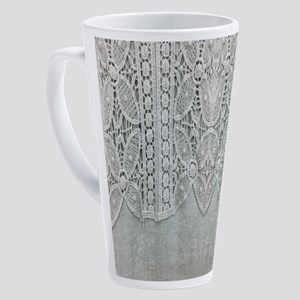 grey linen bohemian lace 17 oz Latte Mug