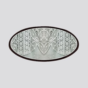 grey linen bohemian lace Patch