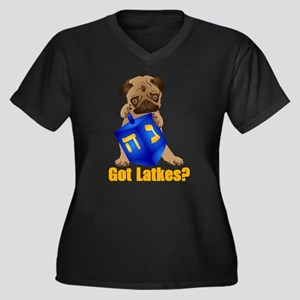 Got Latkes? Pug with Dreidel Plus Size T-Shirt
