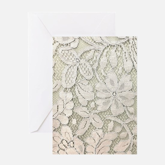 shabby chic white lace Greeting Cards