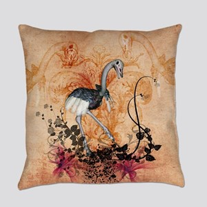 Cute ostrich with floral elements Everyday Pillow