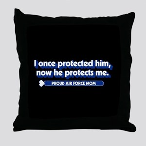 U.S. Air Force Now He Protects Me Throw Pillow