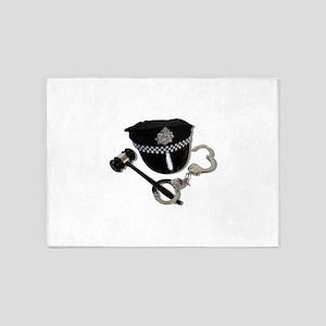 HandcuffsGavelPoliceHat073110 5'x7'Area Rug