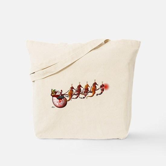 Santa Claus and Seahorse Sleigh Tote Bag
