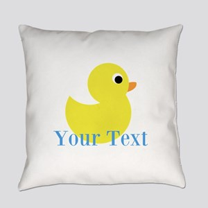 Personalizable Yellow Duck Blue Everyday Pillow