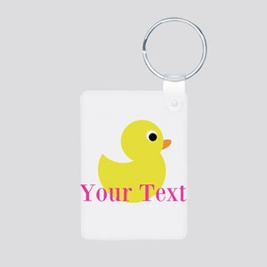 Personalizable Pink Yellow Duck Keychains