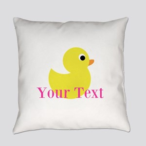 Personalizable Pink Yellow Duck Everyday Pillow
