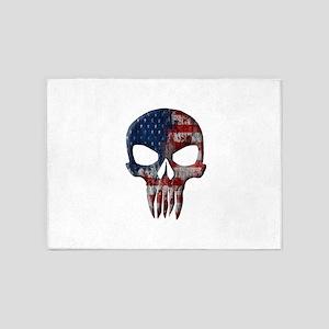American Skull on Dark 5'x7'Area Rug