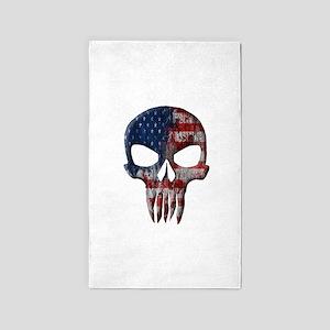 American Skull on Dark Area Rug