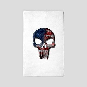American Skull on light Area Rug