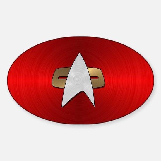 STARTREK VOY METAL 4 Sticker (Oval)