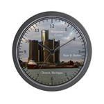 Kaye E. Barker & Ren Cen Detroit Wall Clock