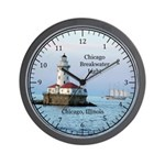 Chicago Breakwater Light And Boat Wall Clock