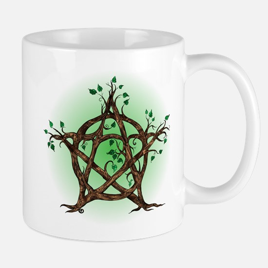 Magic Tree Symbol green backed Mugs