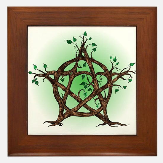 Magic Tree Symbol green backed Framed Tile
