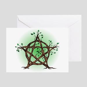 Magic Tree Symbol green backed Greeting Cards