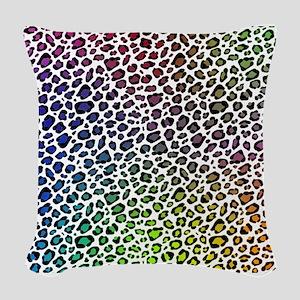 Rainbow Leopard Woven Throw Pillow