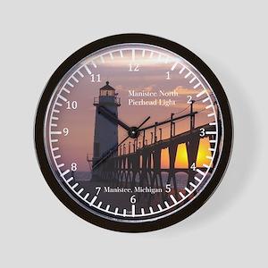 Manistee North Pierhead Light Sunset Wall Clock