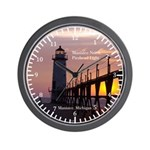 Manistee North Pierhead Light Sunset Wall Clock