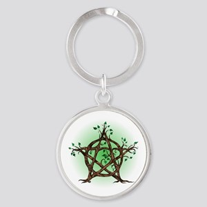 Magic Tree Symbol green backed Keychains