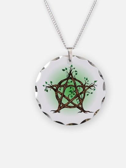 Magic Tree Symbol green backed Necklace