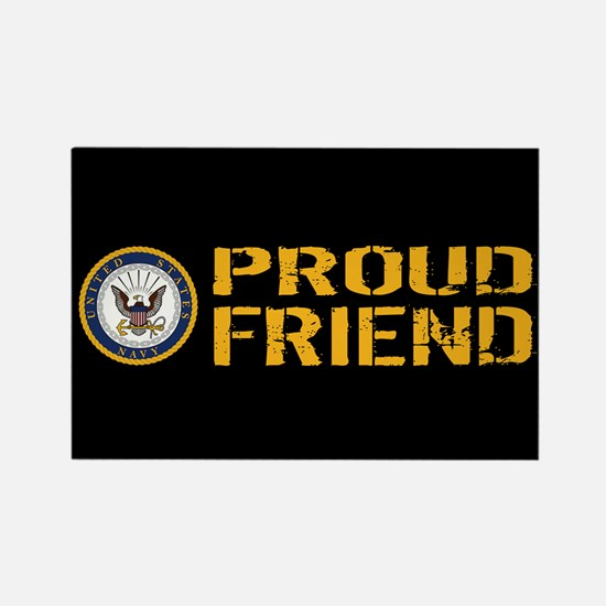 U.S. Navy: Proud Friend (Black) Rectangle Magnet