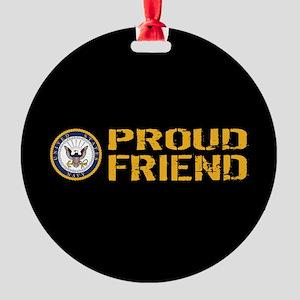 U.S. Navy: Proud Friend (Black) Round Ornament