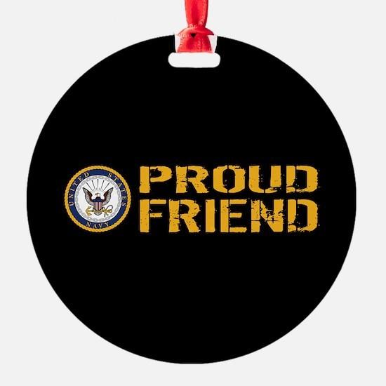 U.S. Navy: Proud Friend (Black) Ornament