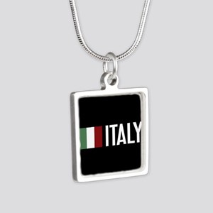 Italy: Italian Flag & Ital Silver Square Necklace