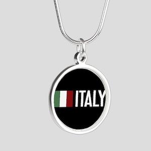 Italy: Italian Flag & Italy Silver Round Necklace