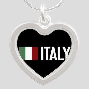 Italy: Italian Flag & Italy Silver Heart Necklace