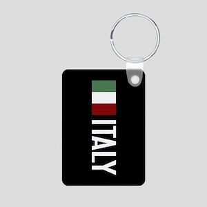 Italy: Italian Flag & Ital Aluminum Photo Keychain