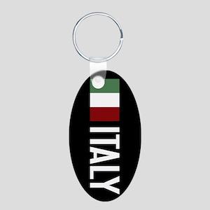 Italy: Italian Flag & Italy Aluminum Oval Keychain