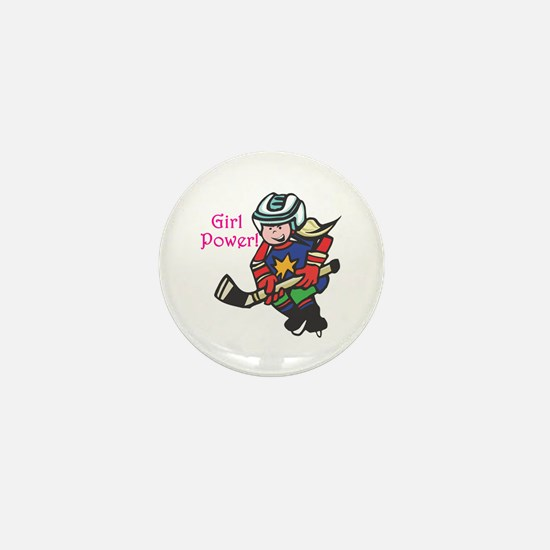 Girl Power Hockey Player Mini Button