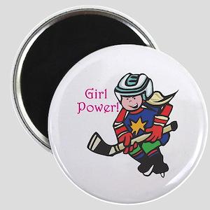 Girl Power Hockey Player Magnet