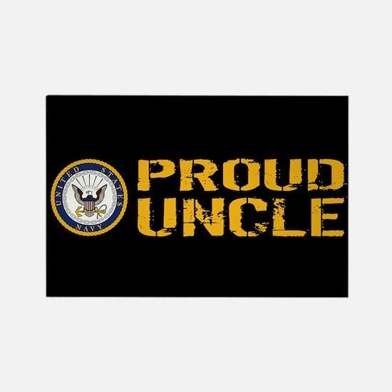 U.S. Navy: Proud Uncle (Black) Rectangle Magnet