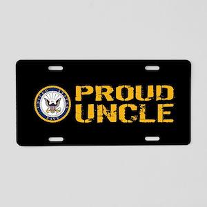 U.S. Navy: Proud Uncle (Bla Aluminum License Plate