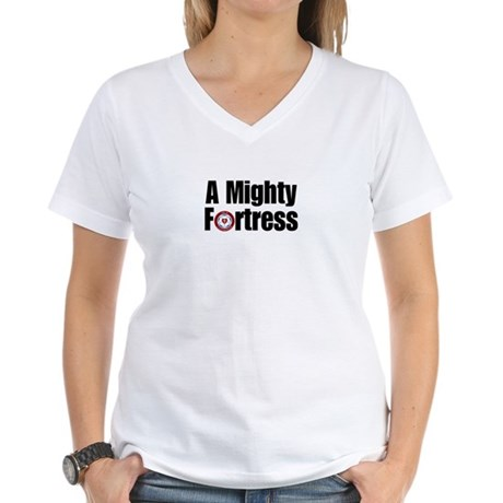 A Mighty Fortress Women's V-Neck T-Shirt