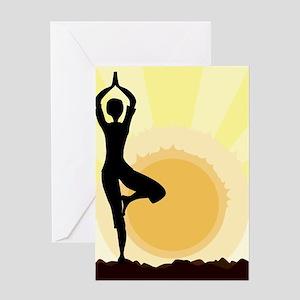 Yoga Tree Pose Greeting Cards