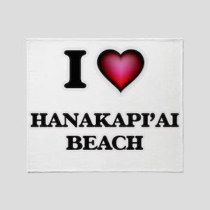 I love Hanakapi'Ai Beach Hawaii Throw Blanket