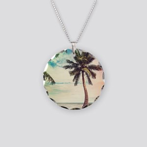 Palm Tree Necklace Circle Charm