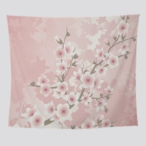 Dusky Pink Vintage Cherry Blossom Wall Tapestry